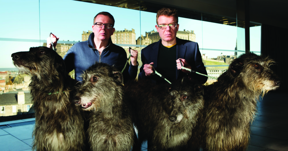 The Proclaimers are Craig and Charlie Reid, seen here with scottish deer hounds fresh from the Cairngorm mountains, Edinburgh, Scotland, UK. 2nd December 2014 PHOTO BY MURDO MACLEOD All Rights Reserved Tel + 44 131 669 9659 Mobile +44 7831 504 531 Email: m@murdophoto.com STANDARD TERMS AND CONDITIONS APPLY (press button below or see details at http://www.murdophoto.com/T%26Cs.html No syndication, no redistribution, Murdo Macleods repro fees apply. ARCHIVAL